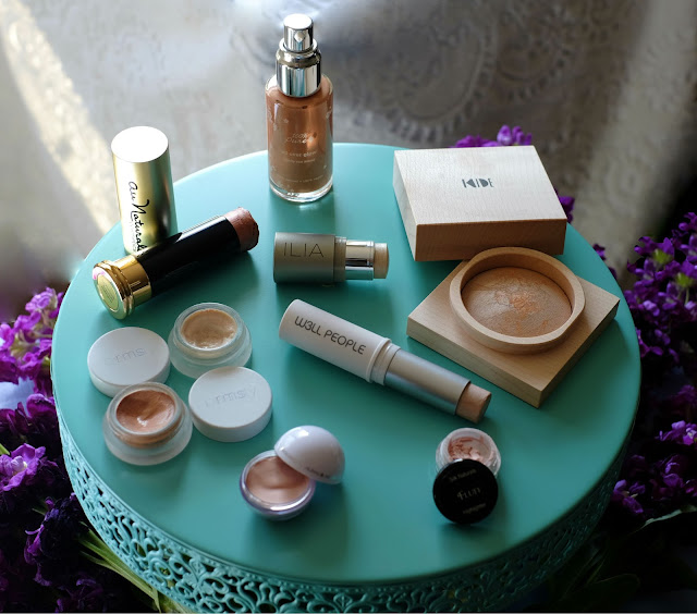 100% Pure Lightly Sun Kissed / Au Naturale Rose Gold / Ilia Beauty Polka Dots & Moonbeams / Kide Y Gold / Modern Minerals Modern Moonstone / RMS Beauty Living Luminizer / RMS Beauty Master Mixer / Silk Naturals Fluff / W3ll People Bio Brightener
