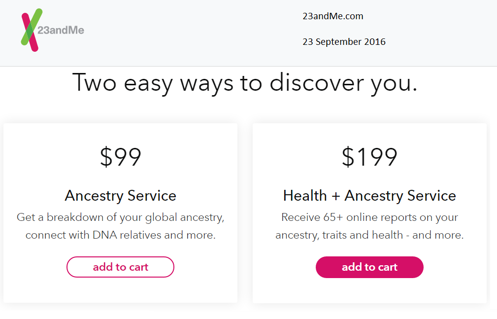 Family History Research by Jody Lutter: 23andMe Price Reversion