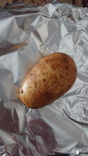 Russet potato washed and ready to be wrapped in foil