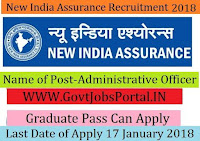 The New India Assurance Limited Recruitment 2018- 26 Administrative Officer