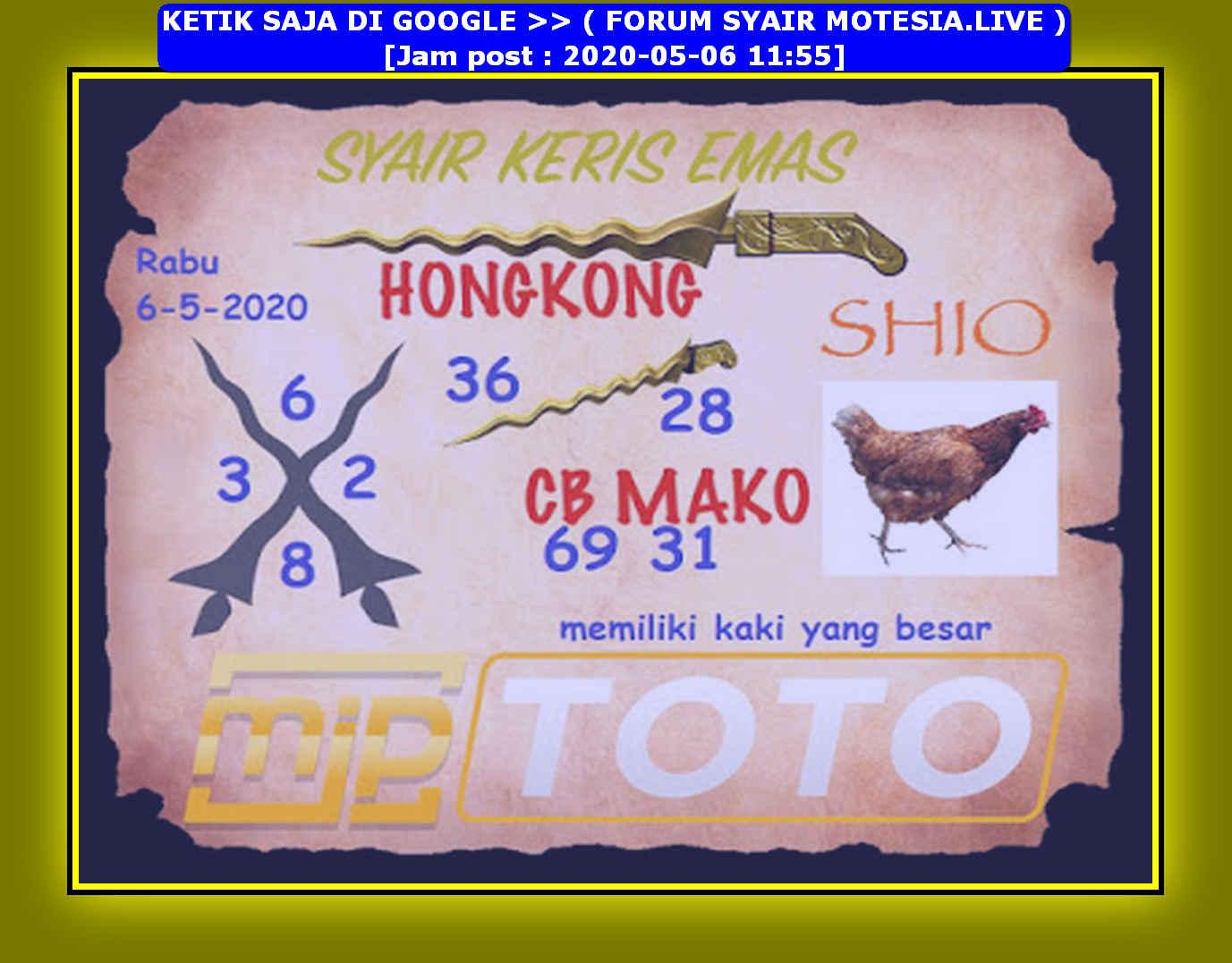 Kode syair Hongkong Rabu 6 Mei 2020 156