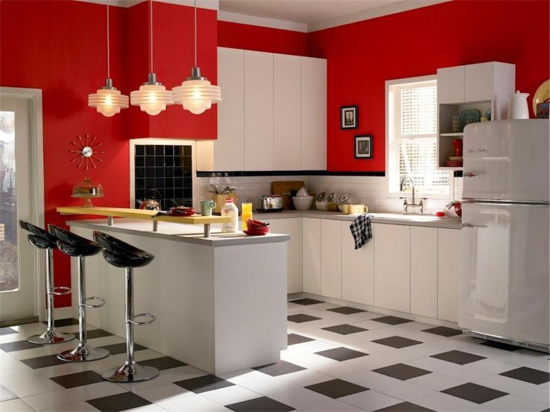 Modern Retro Kitchen Ideas With Staining White Cabinets Light Grey Granite  Countertops, White Tile Backsplash
