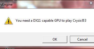 you need a dx11 capable gpu to play crysis 3