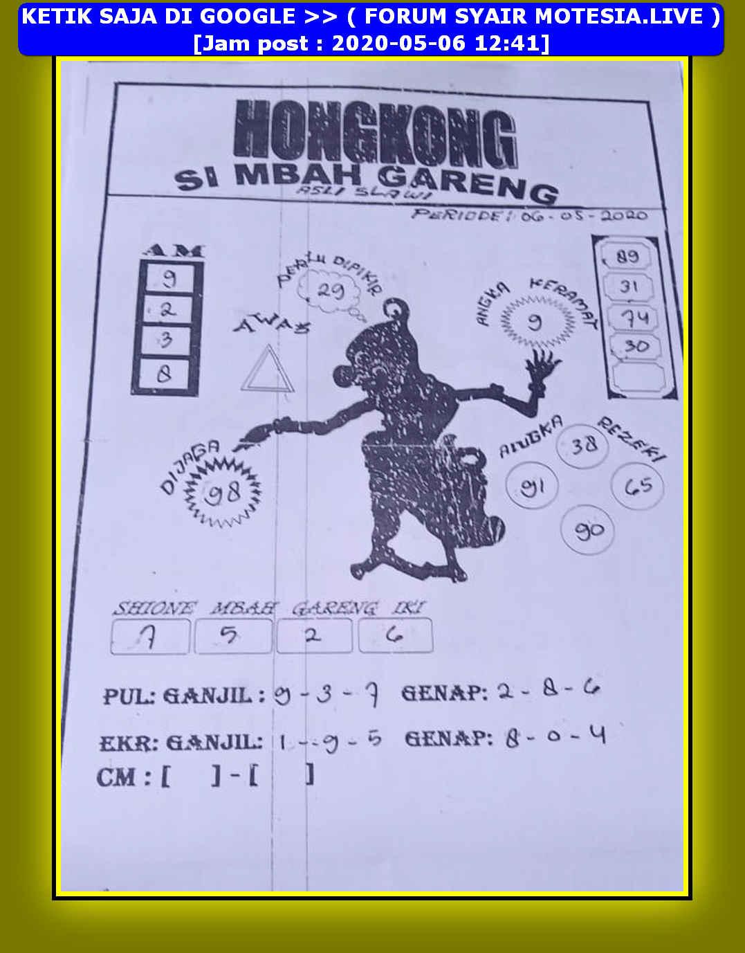 Kode syair Hongkong Rabu 6 Mei 2020 65