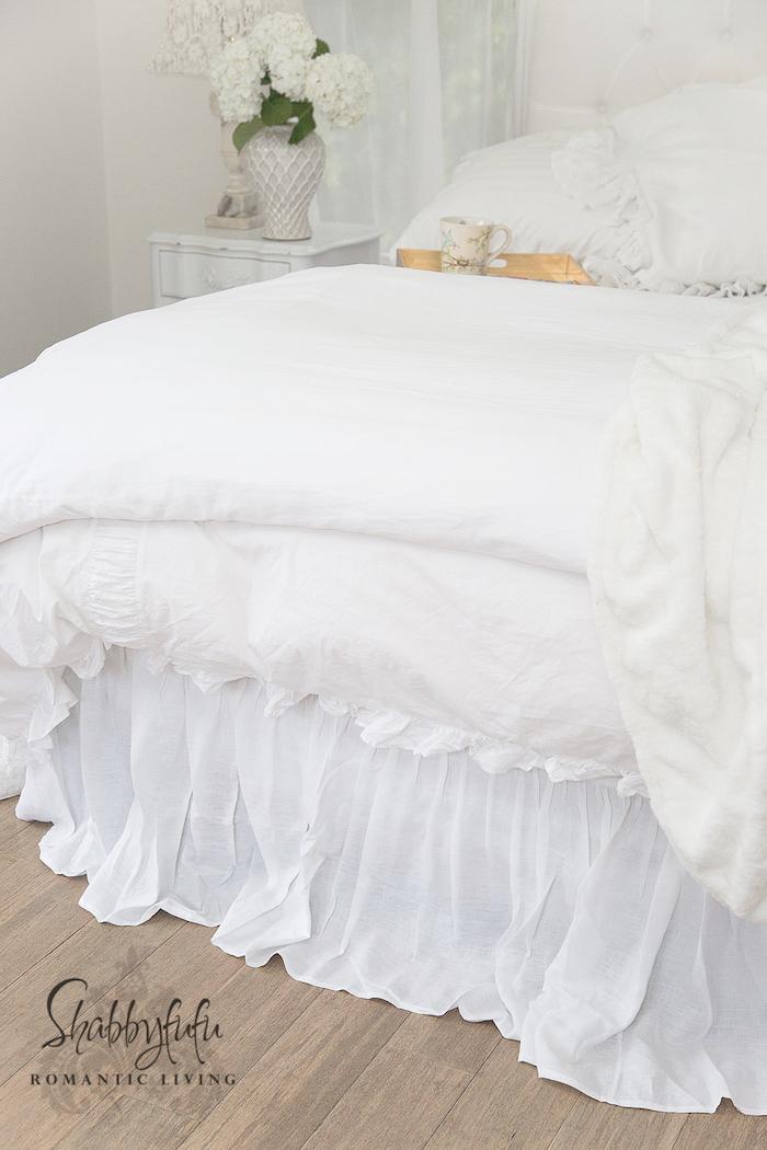 Marvelous superior custom linens white linen bed skirt