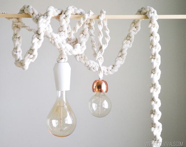 lámpara macramé