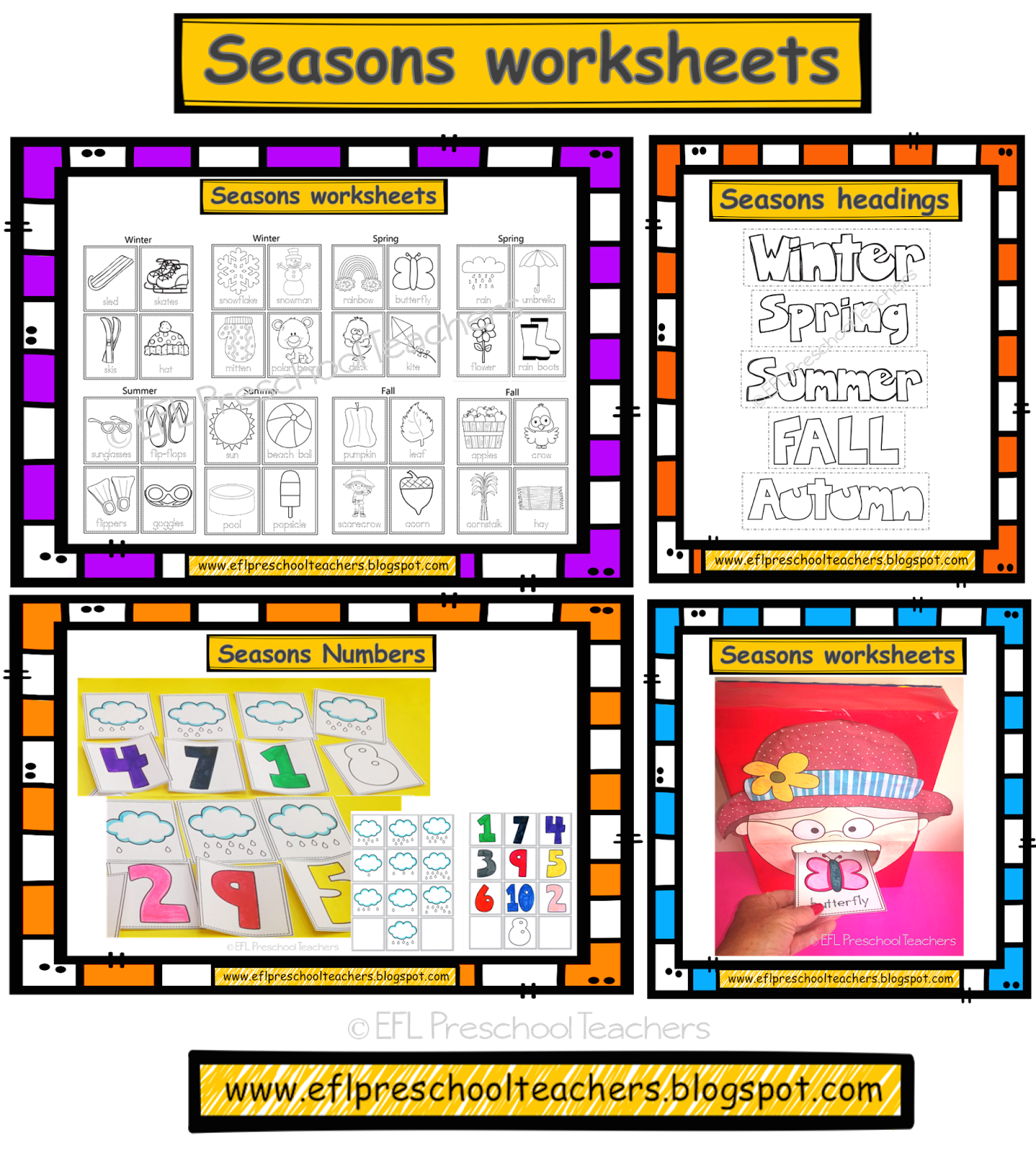 Esl Efl Preschool Teachers Seasons For Preschool Ell