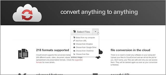 CloudConvert  : Οnline υπηρεσία μετατροπής αρχείων όλων των τύπων