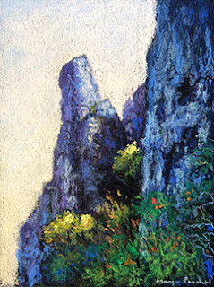 A soft pastel painting of limestone cliffs at Bamboo beach, Thailand by Indian artist Manju Panchal