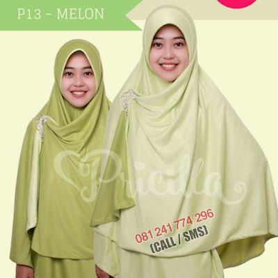 JILBAB Bolak Balik Atau Timbal Balik Original P13 - MELON