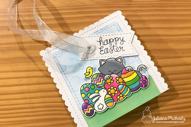 Easter Treat Bag Tutorial by Juliana Michaels featuring Newton's Nook Designs Frames & Flags Die Set