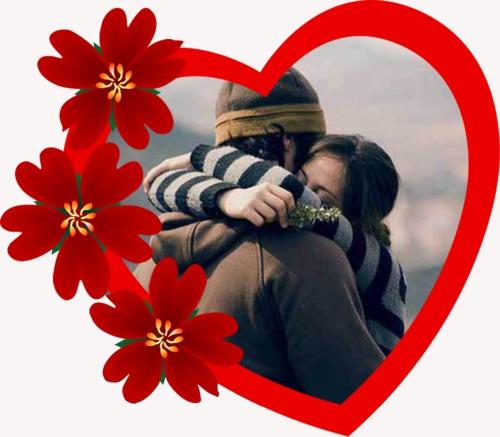 gran corazón marco de amor para tus fotos gratis