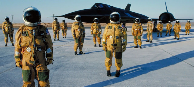 SR-71 & Pilots in Full Pressure Suits at Lockheed Martin, Late 1980's. Photo by Eric Schulzinger
