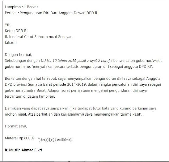 Contoh Surat Pengunduran Diri Anggota DPD