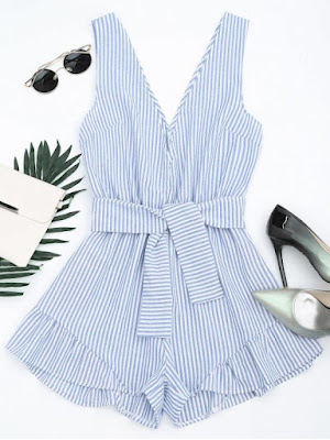 Plunging Neck Belted Striped Romper - Blue Stripe