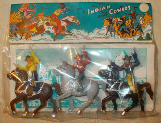 1 Made In Hong Kong Indian And Cowboy Header Carded Plastic Toy Figures DSCN6678 Header Card; Hong Kong; Hong Kong MOC; Hong Kong Plastic Toy; Horse Riders; Mounted Cowboys; Mounted Figures; Plastic Figures; Small Scale World; smallscaleworld.blogspot.com; Wild West;