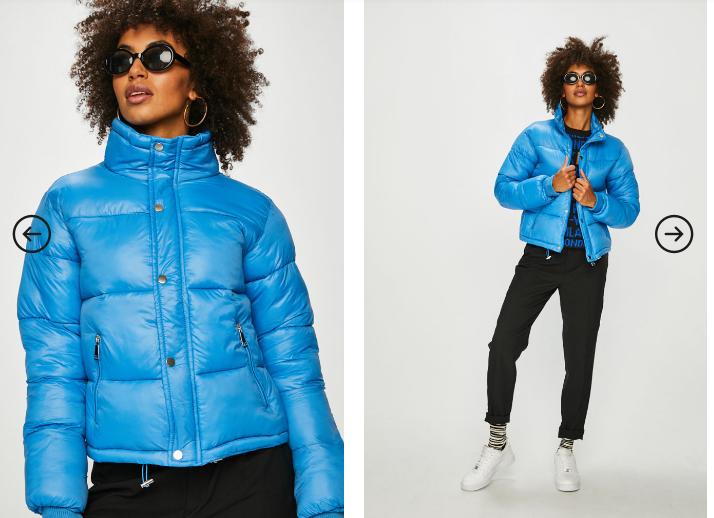 Geaca ieftina groasa de dama albastra de iarna model nou