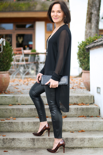 how to wear faux leather leggings over 50 my personal. Black Bedroom Furniture Sets. Home Design Ideas