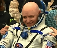 A photograph of Scott Kelly, when he returned to earth after a year on the space station.