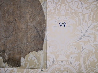 Original and reproduction wallpaper, Edwards House, Springfield, IL.
