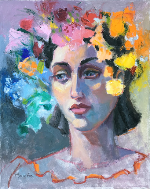 Woman Wearing Flowers Figurative Oil Painting Female Figuration Contemporary Figure Painter