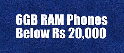 6GB RAM Phones under Rs 20,000 in India in 2019