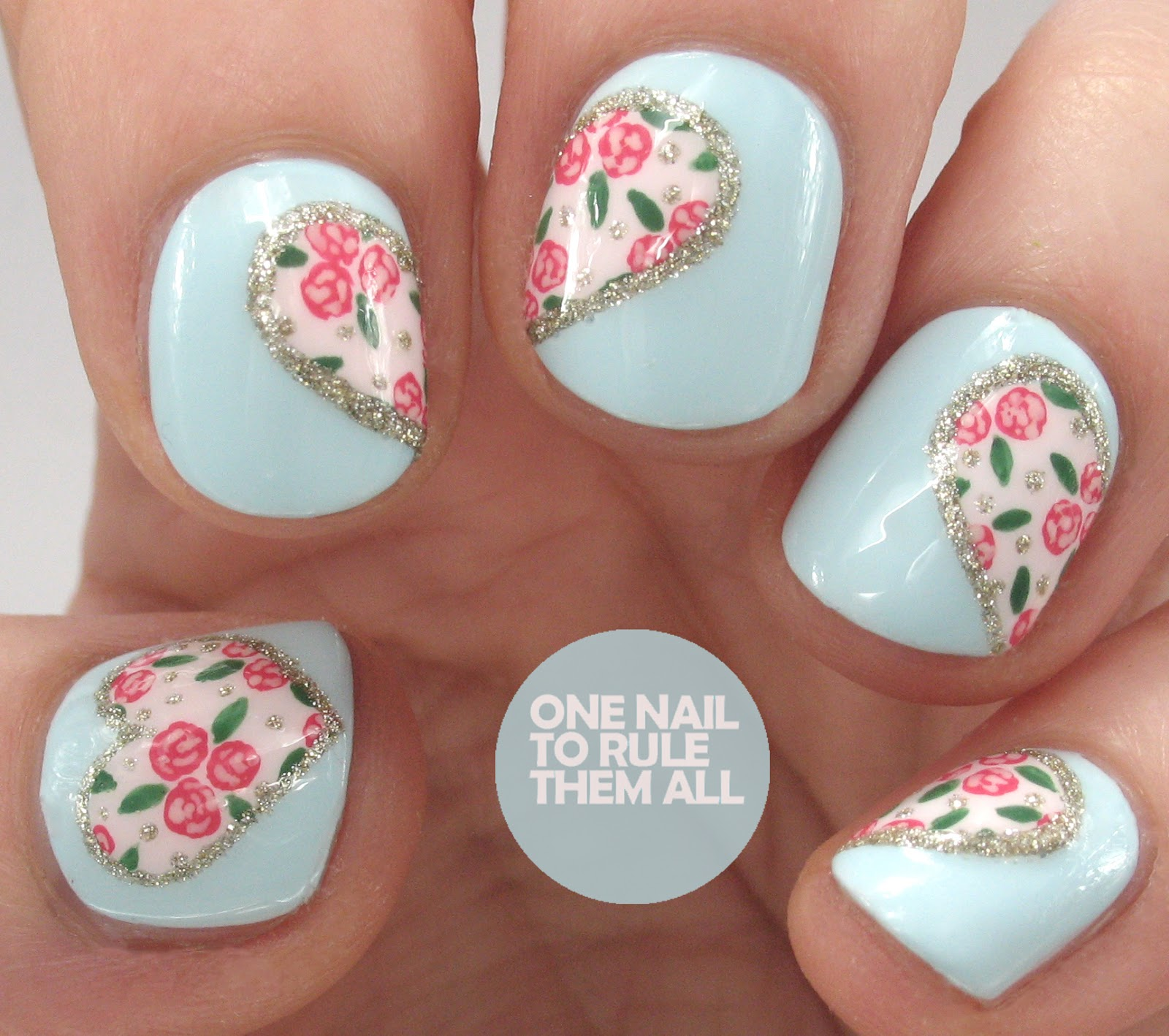 One Nail To Rule Them All Blue Floral Glitter Hearts Valentines