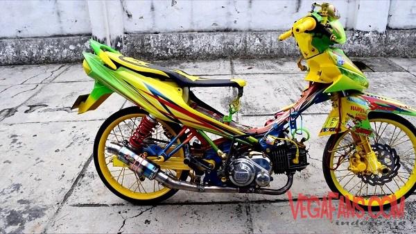 Modifikasi Vega ZR Warna Hijau Kombinasi Kuning