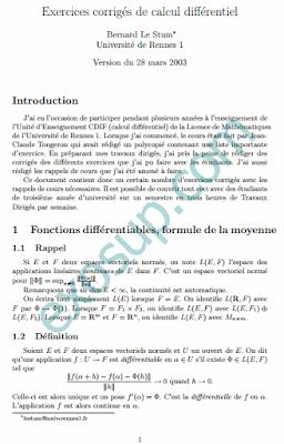exercices corrigés de calcul différentiel sma s5