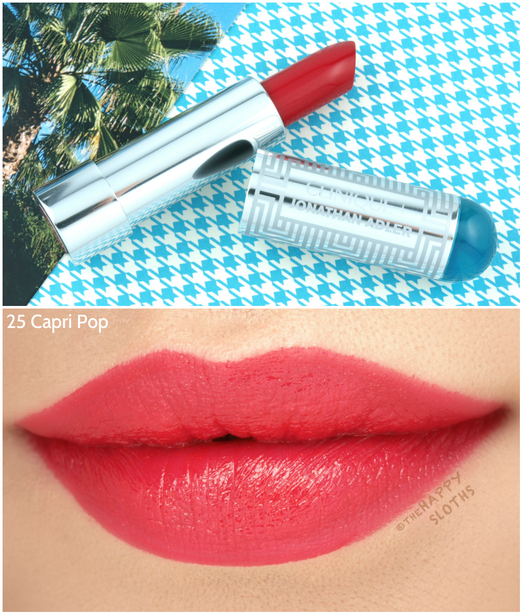 "Clinique + Jonathan Adler Collection | Lip Color + Primer Lipstick in ""25 Capri Pop"": Review and Swatches"