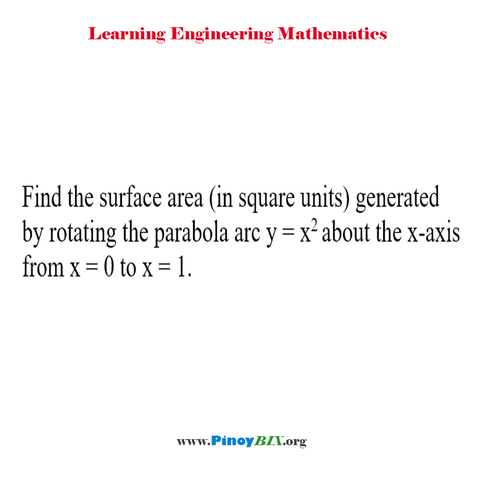Find the surface area generated by rotating the parabola arc about the x-axis