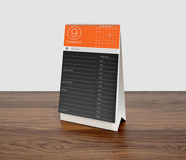 Mockup PSD Kalender 2019 Terbaru - Tall Desk Calendar MockUp PSD