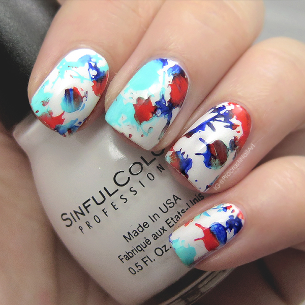 Splatter stamping nail art with Mundo de Unas, Sinful Colors and Ya Qin An