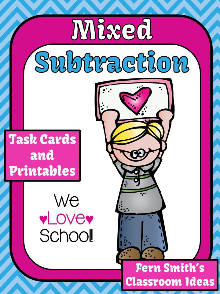 Mixed Subtraction We Love School Theme Printable for 1.OA.6 and 2.OA.2