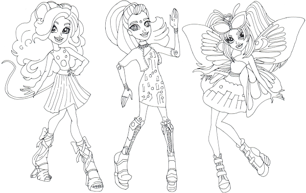 Boo York Gala Ghoulfriends Mouscedes King Elle Eedee And Luna Mothews Monster  High Coloring Page