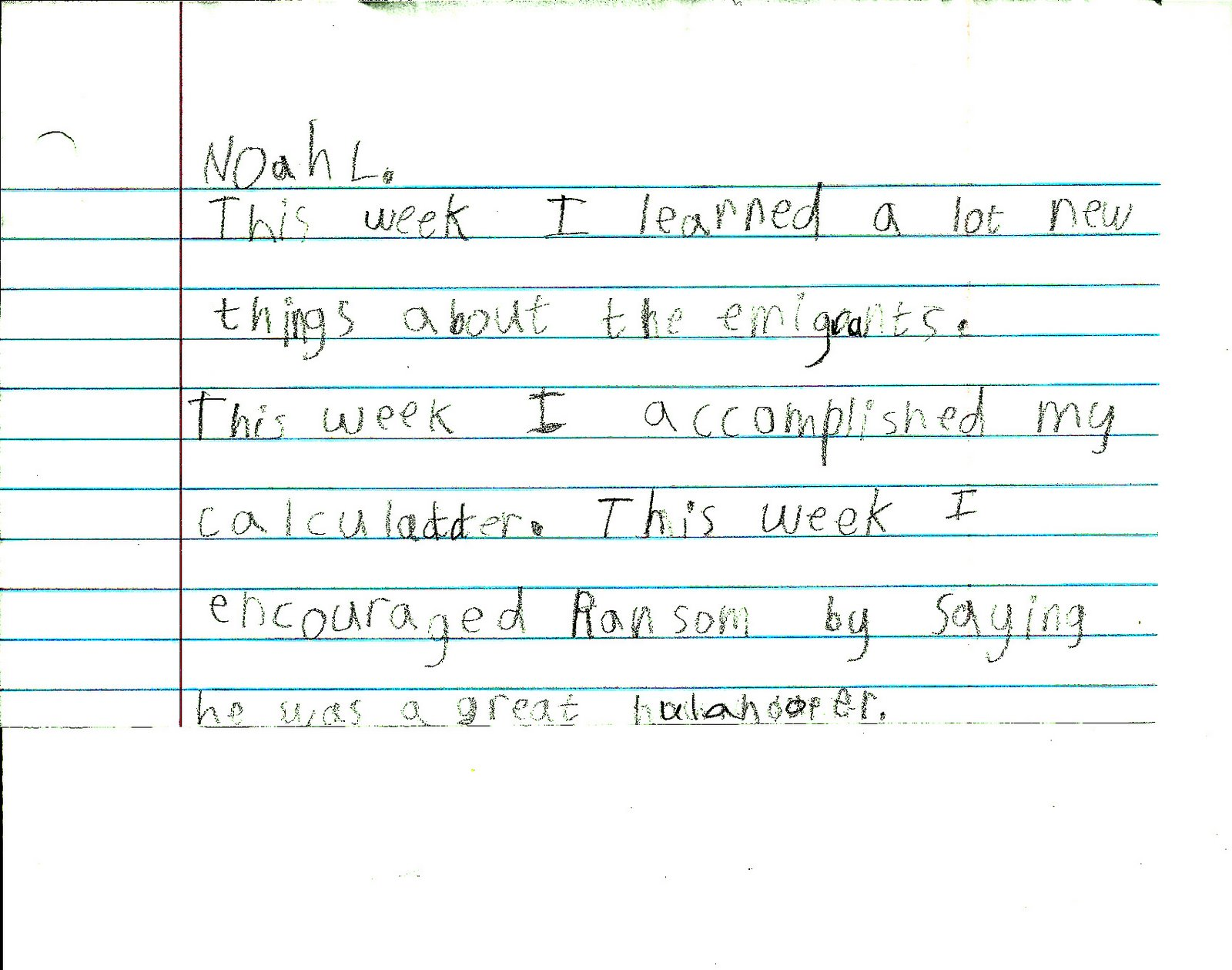 Linhart Second Grade Journal Entries