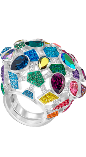 SWAROVSKI LIVELY SPARKLE RING, MULTI-COLORED, RHODIUM PLATING