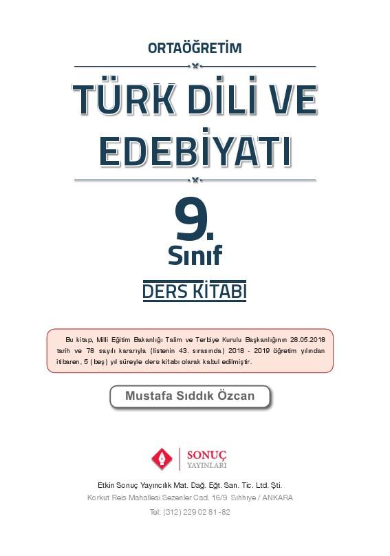 9 Sınıf Türk Dili Ve Edebiyatı Ders Kitabı Cevapları Sonuç