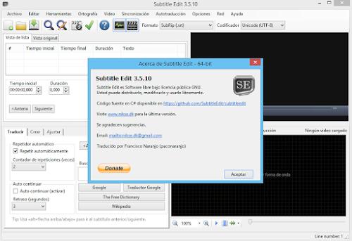 Subtitle Edit v3 5 10 Multilenguaje (Español) + Portable