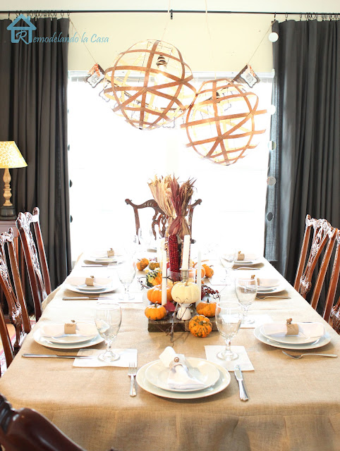 Chippendale dining set dressed rustically for Thanksgiving
