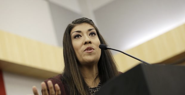 Lucy Flores Isn't Amused By Biden's Onstage Joke
