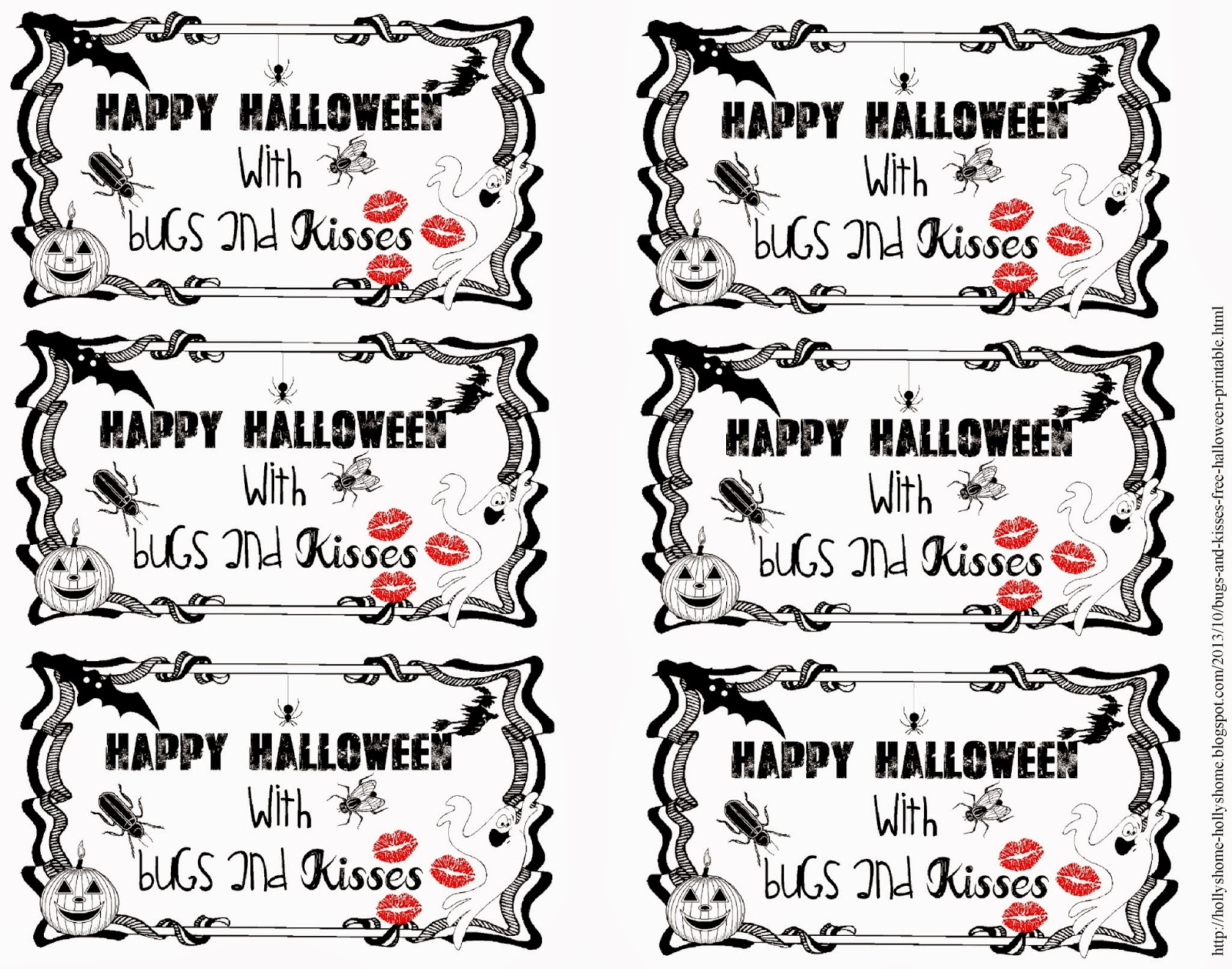 image relating to Bugs and Kisses Free Printable identified as HollysHome Spouse and children Daily life: Insects and Kisses - a No cost Halloween