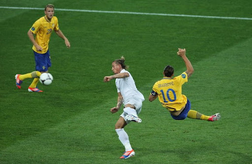 Sweden striker Zlatan Ibrahimović scores against France with an acrobatic scissor kick