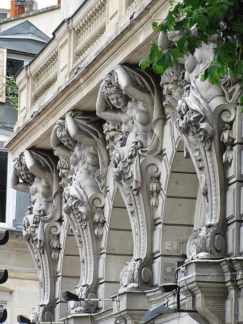 Detail of the facade, Théâtre de la Renaissance, boulevard Saint-Martin, Paris