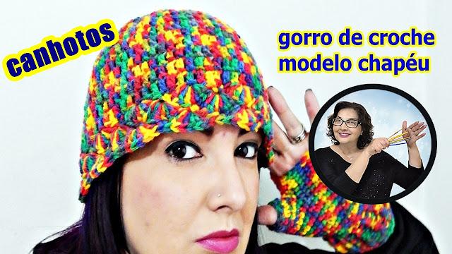 dinir croche ensina no curso decroche facebook Gorro / Touca de Crochê para Canhotos - passo a passo edinir croche