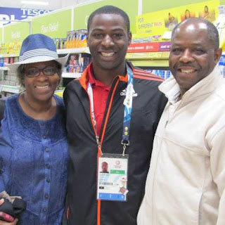David's parents traveled to the Commonwealth Games in Scotland last summer to see their son represent their home country. (Photo provided by David Registe)