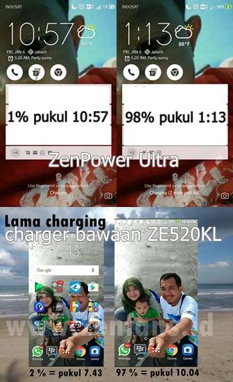 Perbandingan lama mencharge dengan ZenPower Ultra dan charger bawaan