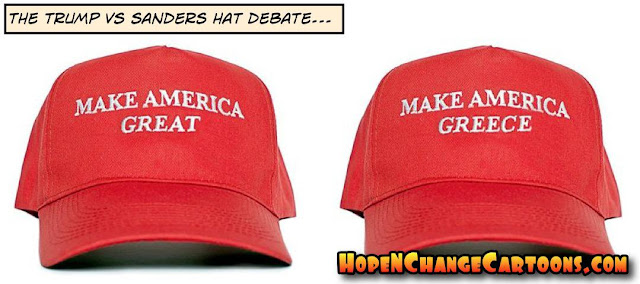 obama, obama jokes, political, humor, cartoon, conservative, hope n' change, hope and change, stilton jarlsberg, trump, sanders, hat, debate