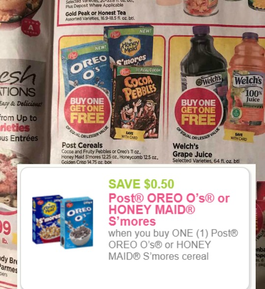 graphic about Post Cereal Printable Coupons titled Tops: Posting Oreo Os or Honey Maid Smores Cereal upon BOGO +