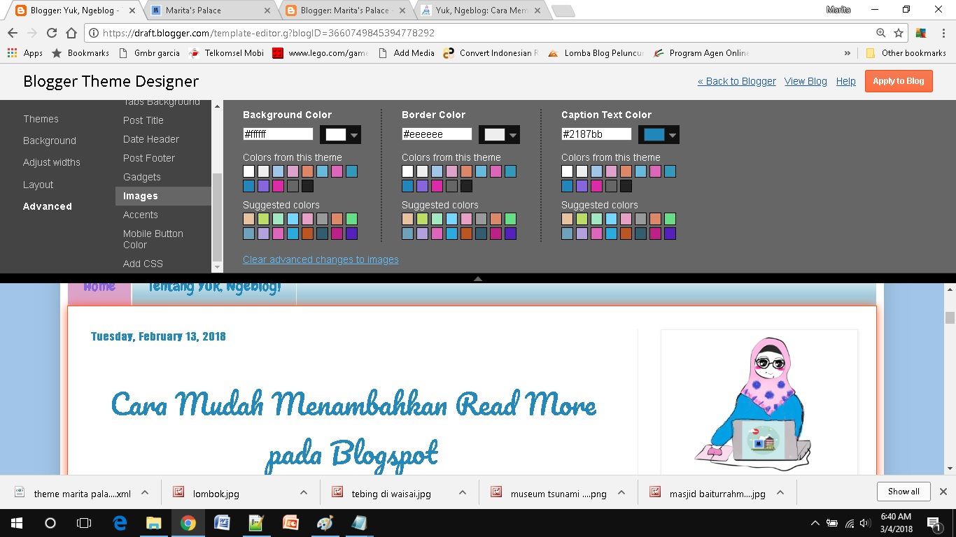 mendesain template blog sederhana setting images